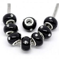 Perle noir et strass 001