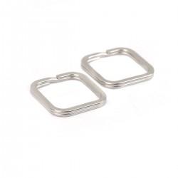 Anneau porte clés forme carré Acier Inoxydable 30 x 30 mm