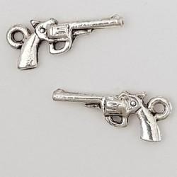 Breloque revolver pistolet N°01 Argent
