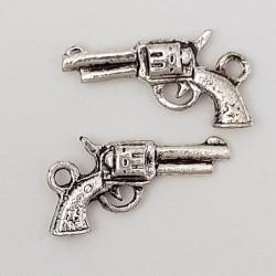 Breloque revolver pistolet N°02 Argent