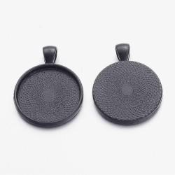 2 supports cabochons de 25mm noir, pendentifs cabochons