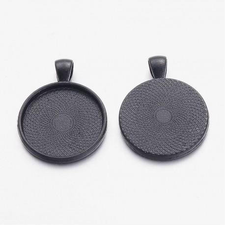 2 supports cabochons de 25mm noir, pendentifs cabochons 16NR