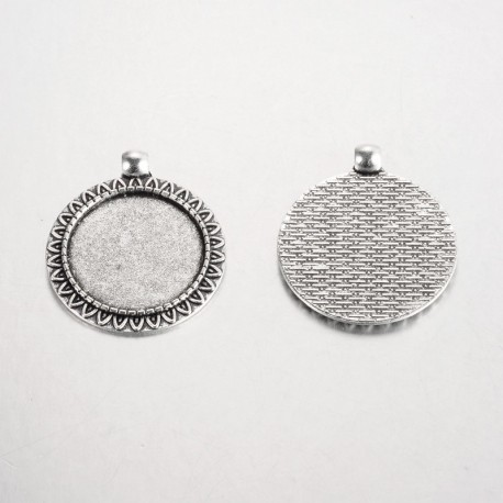 2 supports cabochons de 25mm argent, pendentifs cabochons