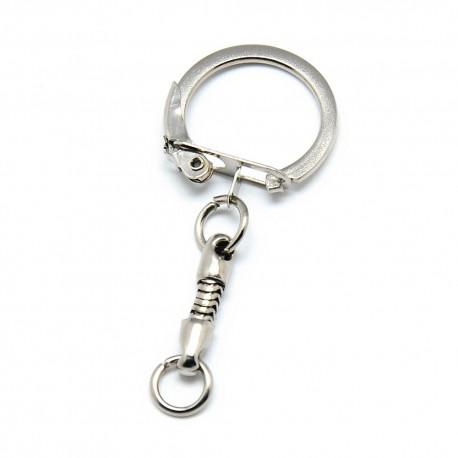 Porte clés argenté en métal 5 cm