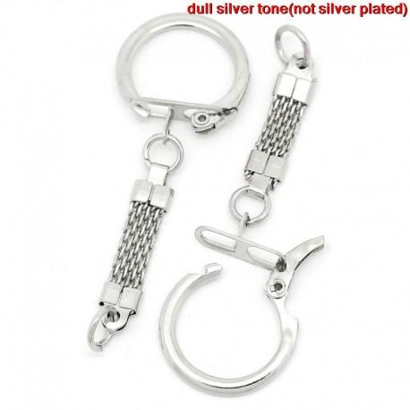 Porte clés argenté en métal 6.2 cm