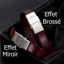 Fermoir clip griffe pour cuir 12 mm de large Brossé